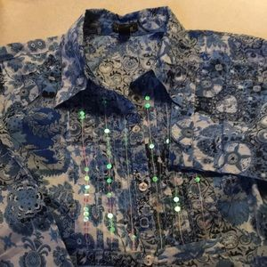 Erika Large Sequined Blue Blouse